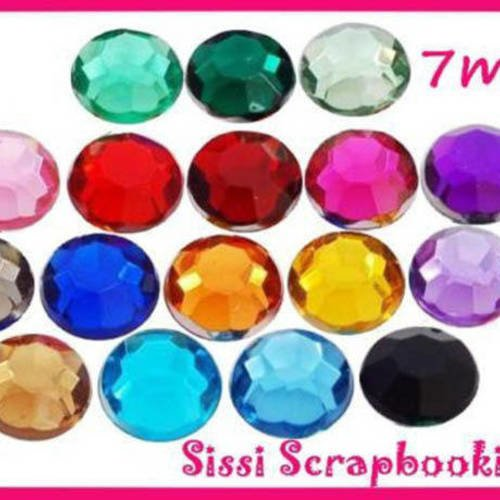 PROMO LOT 35 STRASS A COLLER MULTICOLORE 7mm SISSI SCRAPBOOKING