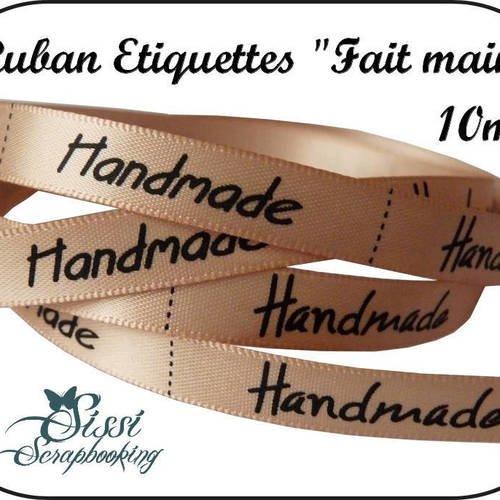 Ruban etiquettes fait main handmade satin 10mm scrapbooking couture