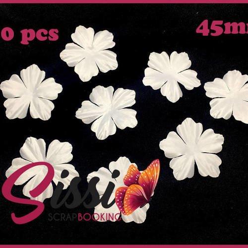 Maxi lot 50 fleurs feuille tissu doré or gold mariage robe de mariée déco 45mm