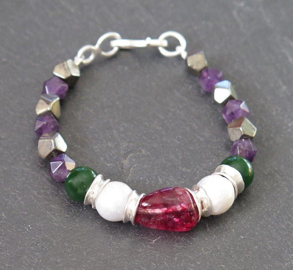 Bracelet argent massif 950, tourmaline, perles baroques, jade, améthyste et pyrite. Bracelet empilable. Fait main en France