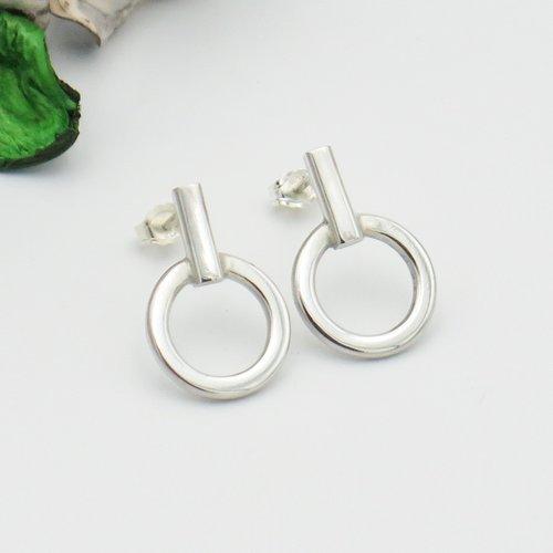 Boucles d'oreilles cercle barre argent massif, petites créoles plates, bijoux personnalisés