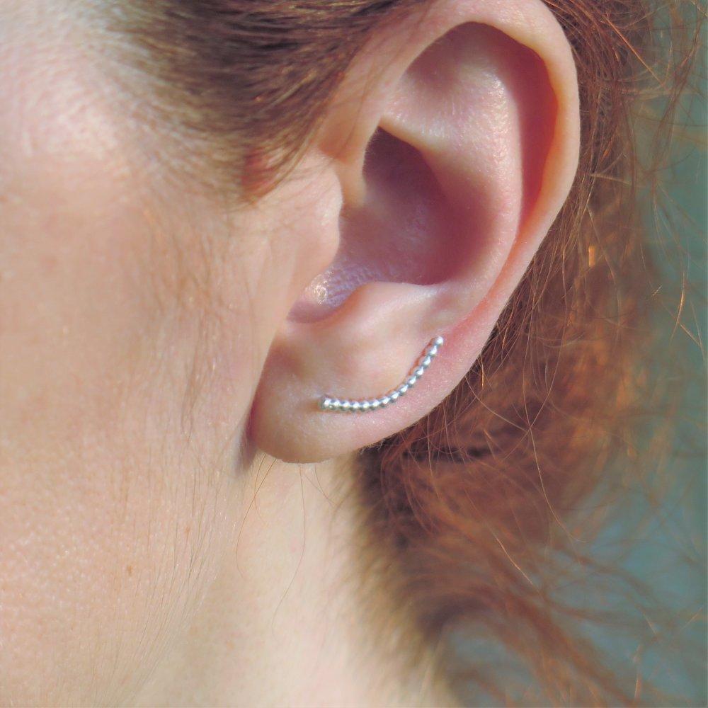 Manchette d'oreille barre petites billes argent massif 950, Contour d'oreilles boules argent, Boucle grimpeur, Boucle grimpante