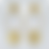 Créoles ovales or brossé et pendentif carré. boucles d'oreilles argent massif plaqué or 18k. bijou architecturale