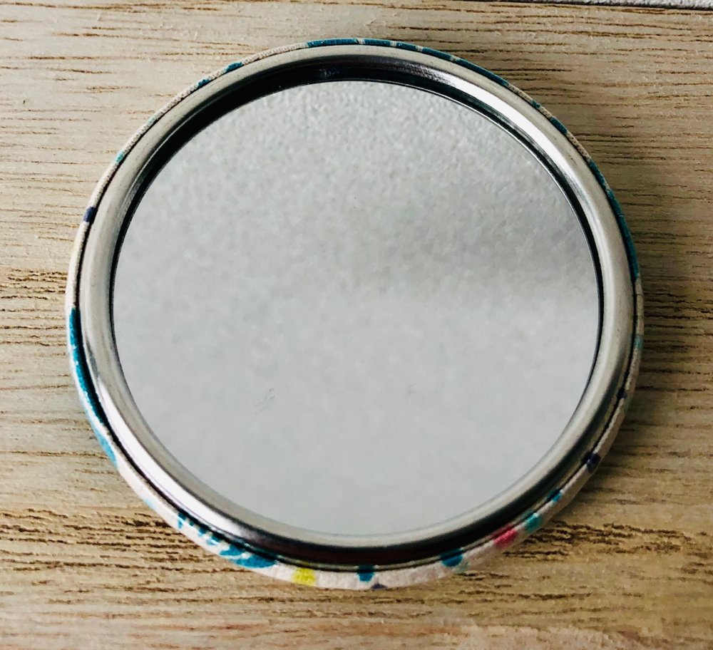 Miroir de poche tissu fleuri
