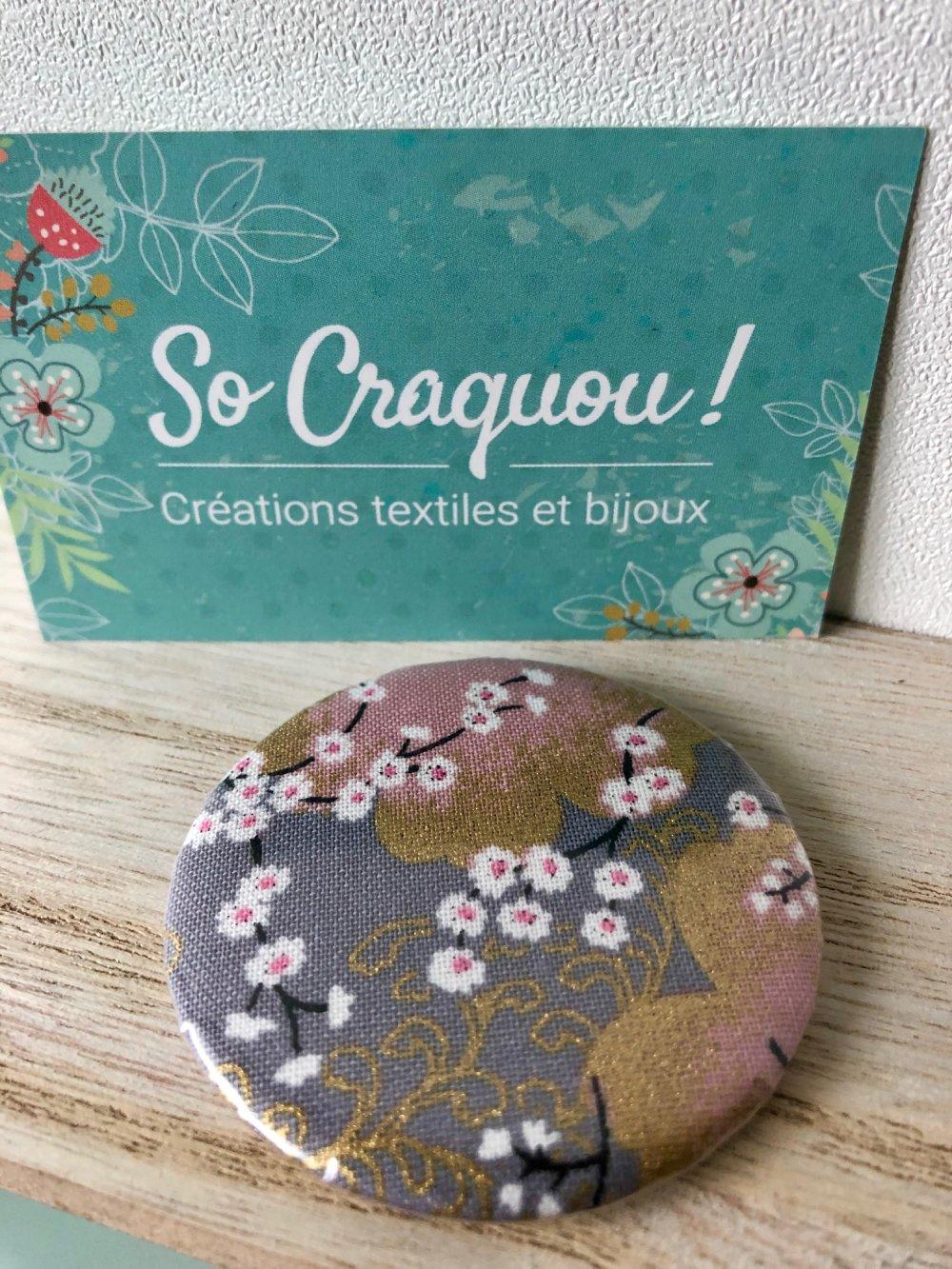 Miroir de poche tissu japonais gris, rose et doré