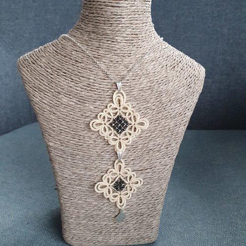 Collier clara ivoire, en dentelle de frivolité et perles