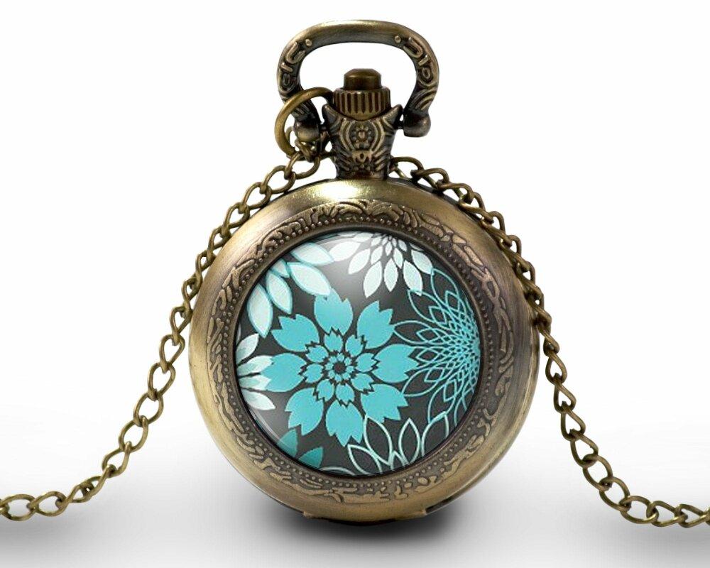 Montre à gousset, sautoir illustré fleurs-Fleurs turquoise-, parure, cadeau noel, cadeau femme, cadeau anniversaire, bronze (ref.7)