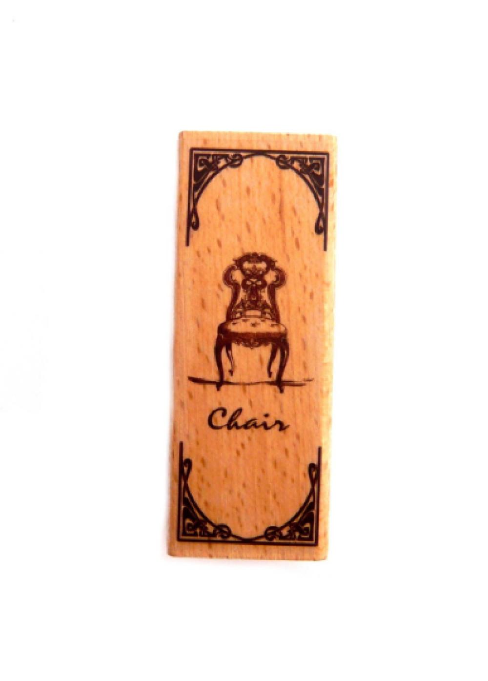 Tampon encre papier scrapbooking chaise de collection vintage clé