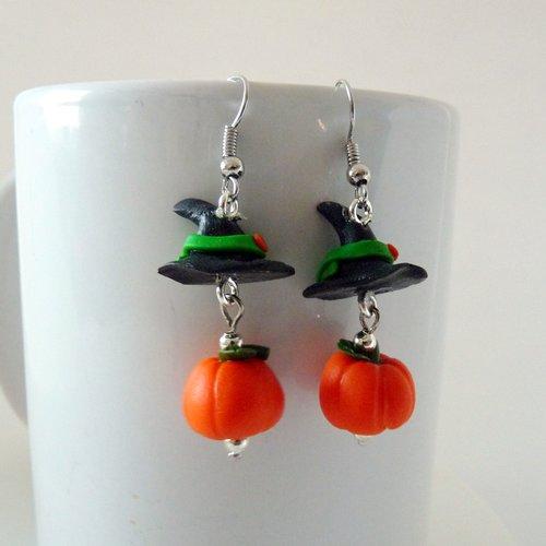 Halloween - boucles d'oreilles citrouille chapeau