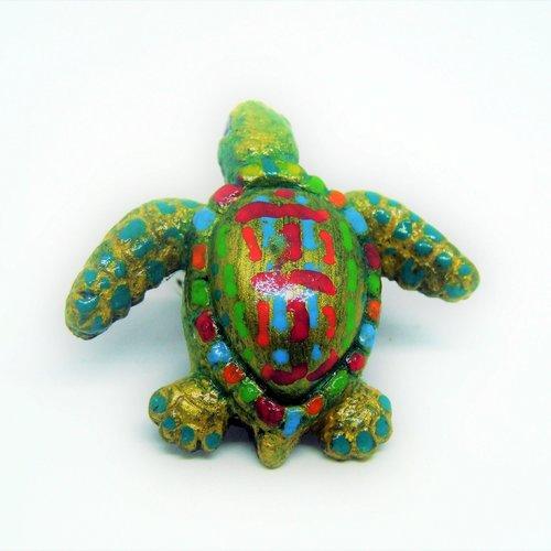 Animaux - figurine tortue turquoise et multicolore