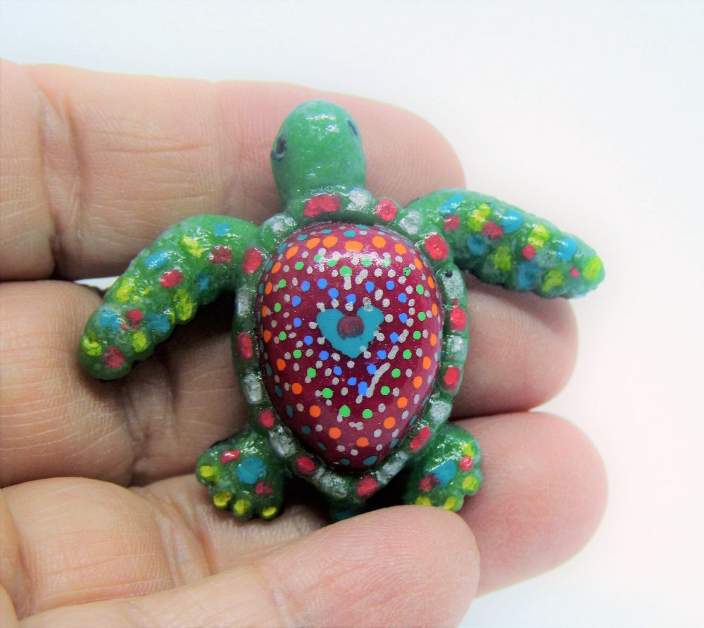 Animaux - Figurine Tortue rouge et multicolore