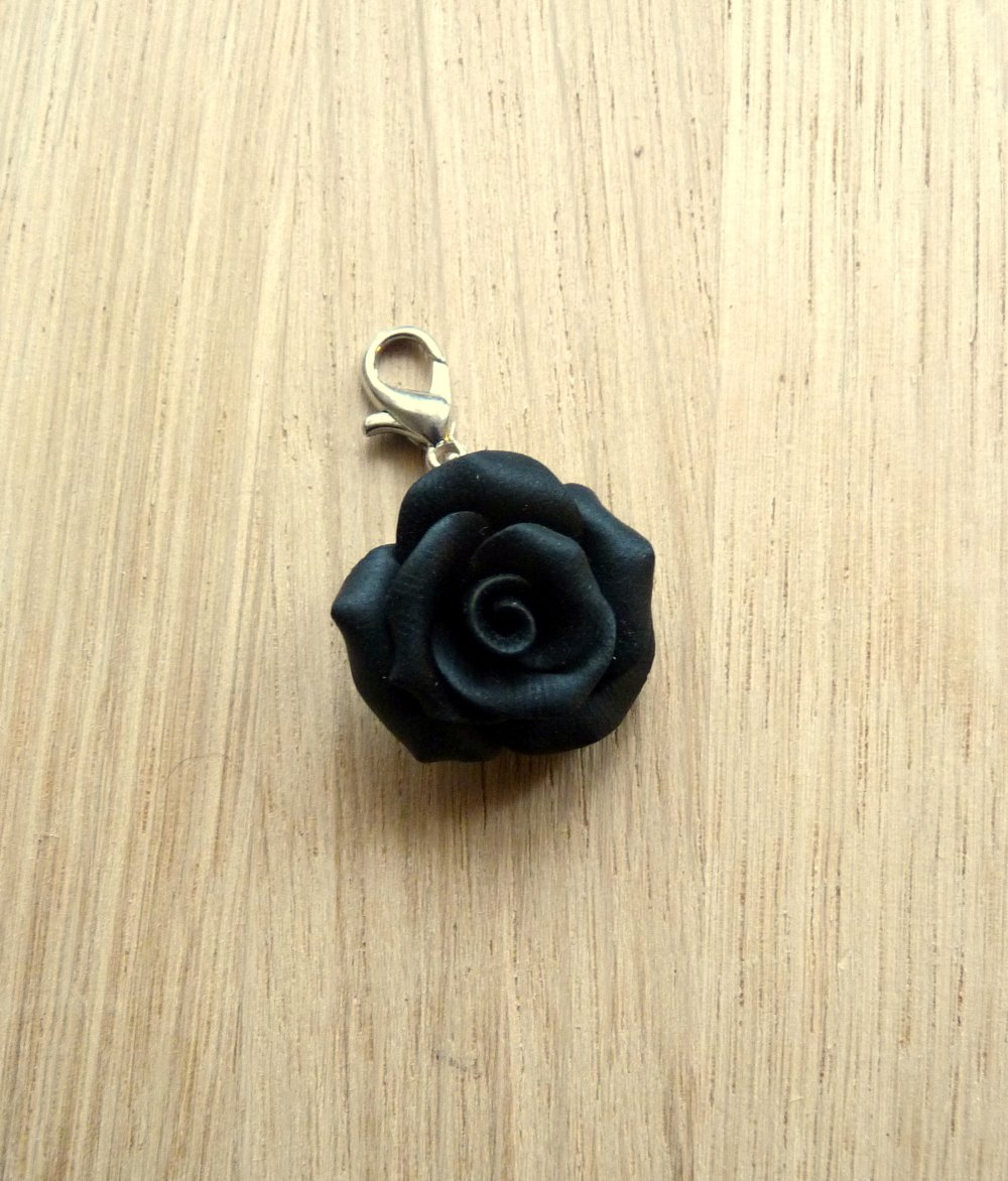 Fleurs - Breloque mini Rose noire 1