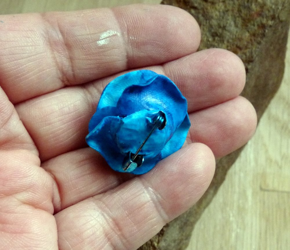 Fleurs - Broche Rose bleue