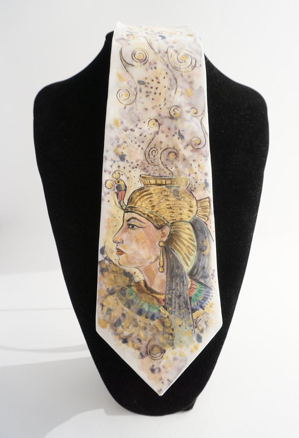 cravate soie peint main