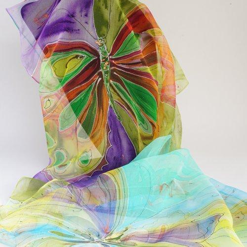 Echarpe en mousseline de soie peint main papillons