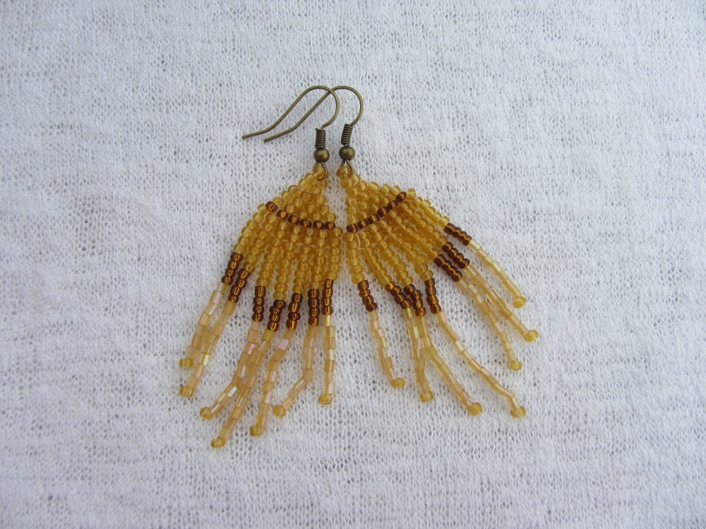 boucles d'oreilles pendantes, tissage de perles de rocaille marron ambré, boucles breloques, bohème chic, gypsy
