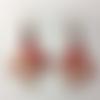 Boucles d'oreilles motif fleurs de cerisier rouge (cabochon swarovski rouge)