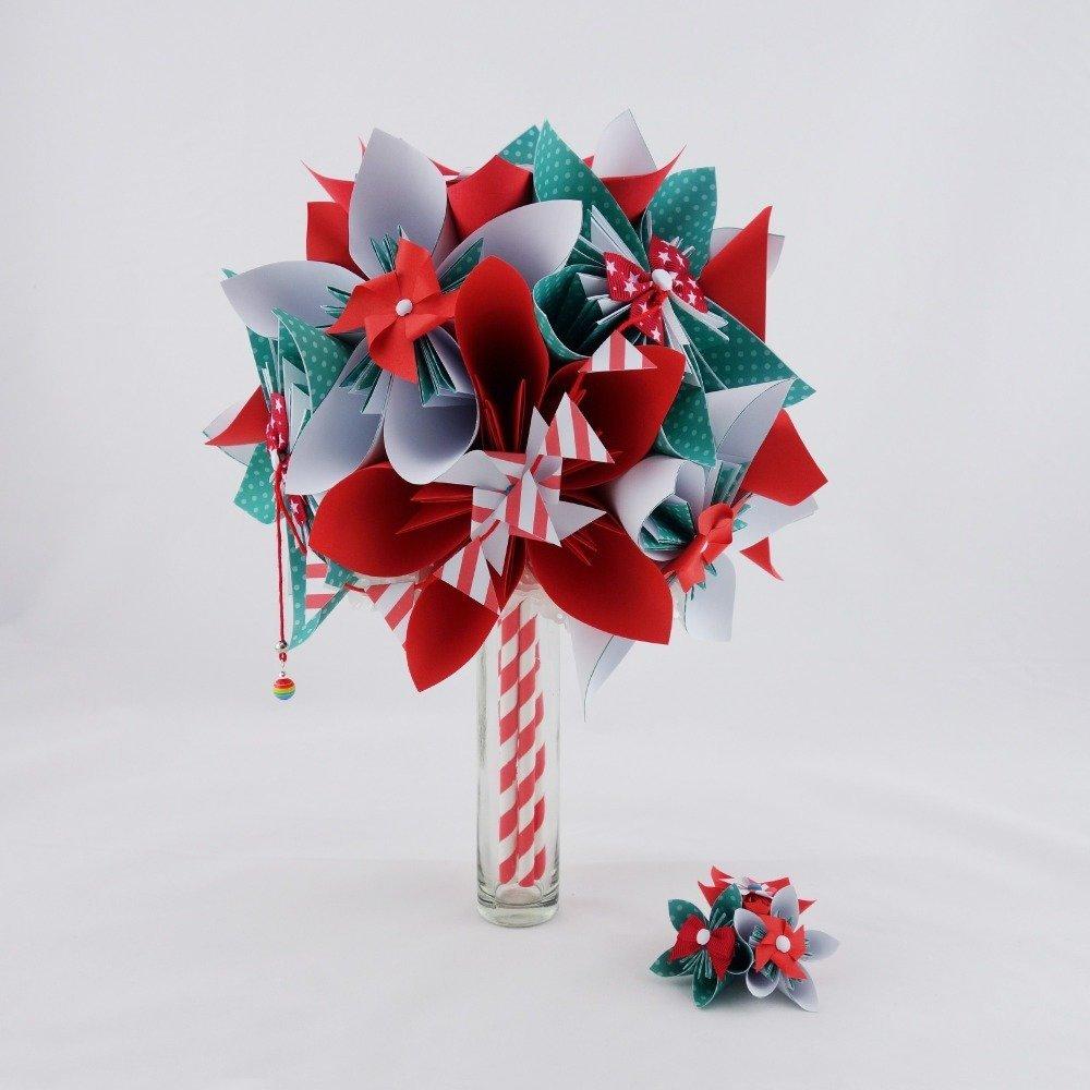 Bouquets de mariée en origami x 2 et accessoires