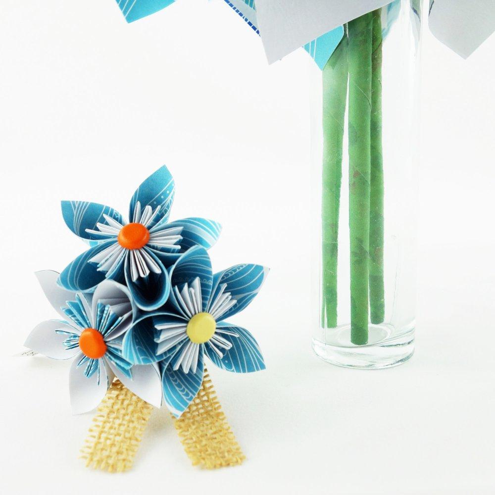 Bouquet de mariée bleu en origami et accessoire