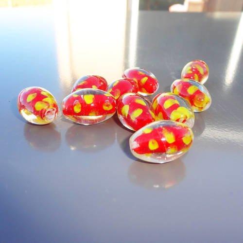 20 perles ovales 14x10mm verre CRAQUELE ORANGE /& TRANSPARENT DIY Bijoux