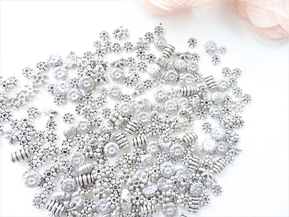 perle passant métal,  métal, apprêts argent, perle, tube, bracelet