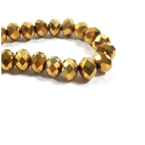 Perles verre facette abaque  or  , perle boulier, abaque, 2.5 mm