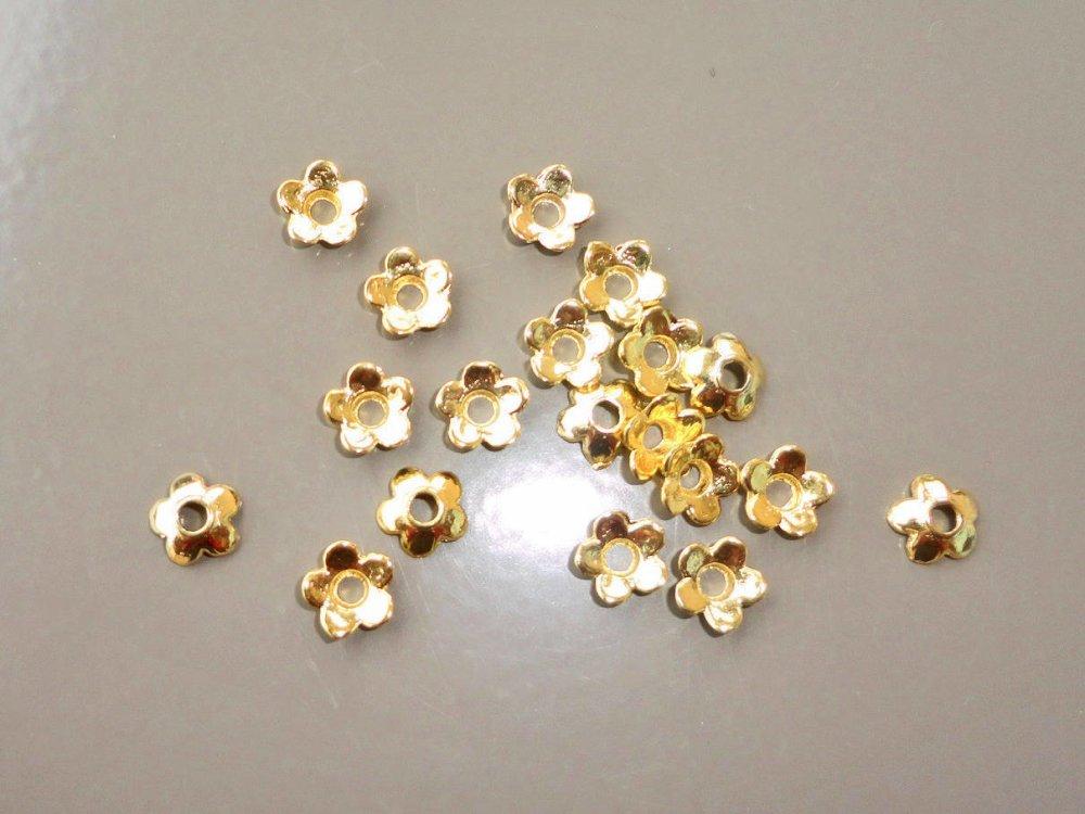 perle calotte fleur doré, embout à perle,