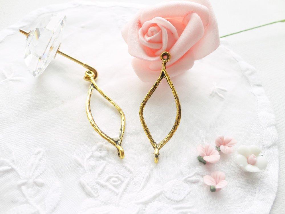 connecteur losange doré, intercalaire ovale, apprêt bijoux, perle, marquise , laiton