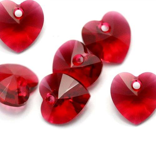 lot de 50 perle en verre de bohème forme cœur bicolore rouge transparent