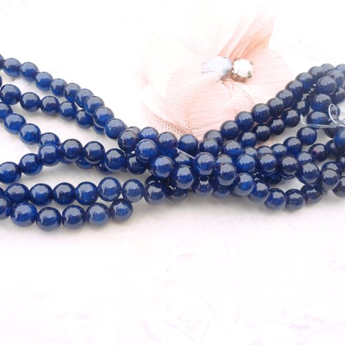 Jade rond  6 mm, bleu marine, perle de jade, pierre ,gemme, naturelle