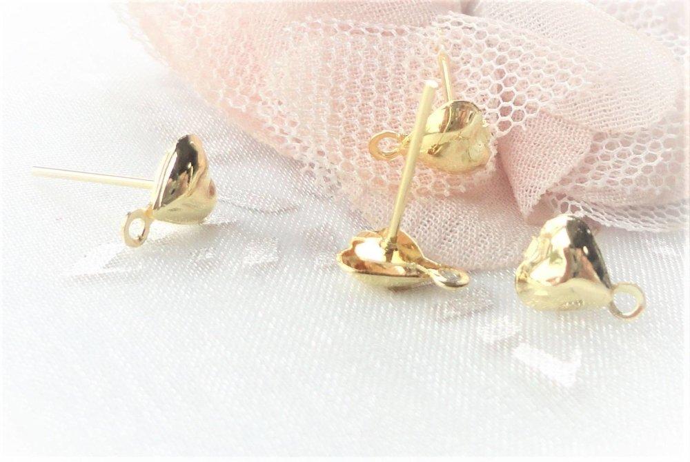 puce oreille cœur, boucle oreille cœur, crochet doré, clou, puce, or