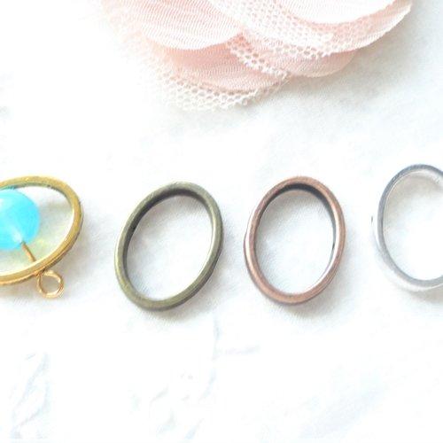 Connecteur ovale argent, cage à perle, anneau ovale, perle, métal argent,