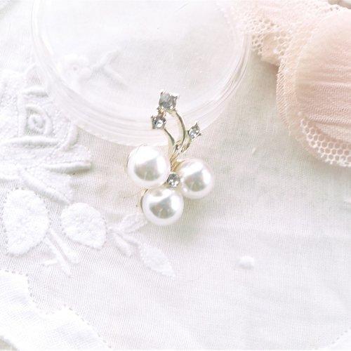 Pendentif perle nacrée et strass, charm romantique, charm nacrée, breloque, perle, strass