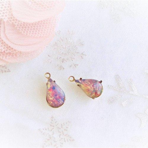 Pendentif goutte opale de feu, république tchèque, perle verre, cabochon, serti, 13x18,