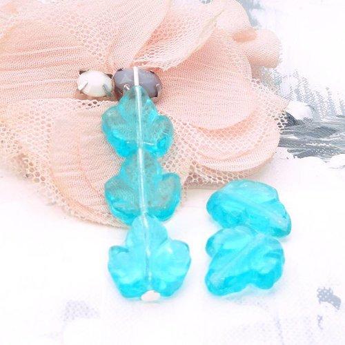 Perles bleu turquoise, perle verre, république tchèque, pendentif, feuille, verre