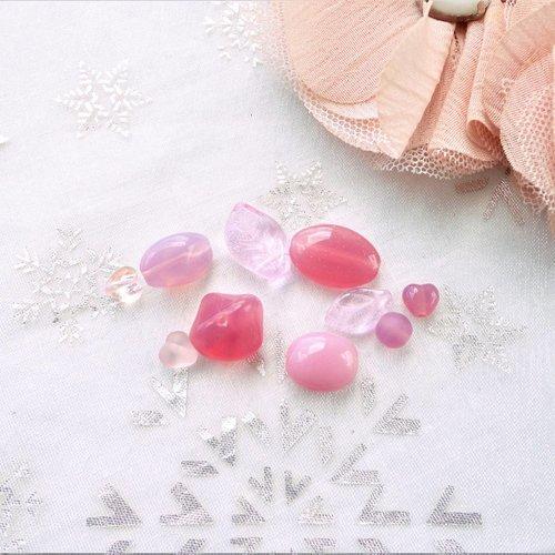 Perles verre tchèque , verre rose, république tchèque, perle, lot, mixte