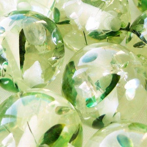Perle résine ronde 15 mm, perle transparente, inclusion , bubble , gum