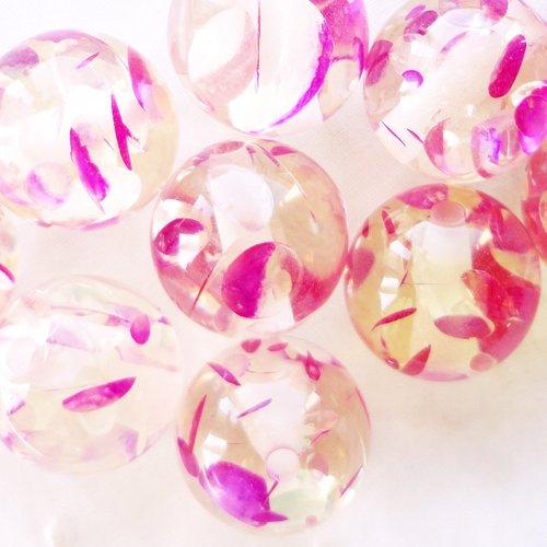 Perle résine ronde, inclusion rose,15 mm,  fuchsia, transparente,