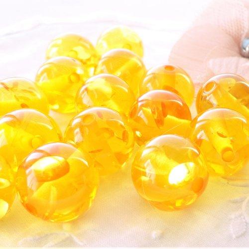 Perle résine transparente et or, perle ambre, imitation ambre, ronde, 15 mm, inclusion