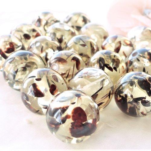 Perle résine transparente et chocolat, inclusion marron, ronde, 15 mm,