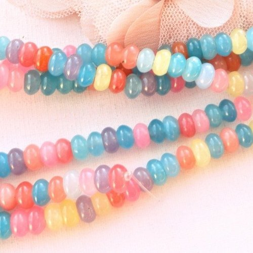 Perle de jade donut, lot mixte, jade naturel, perle, abacus, pierre, , 8 mm