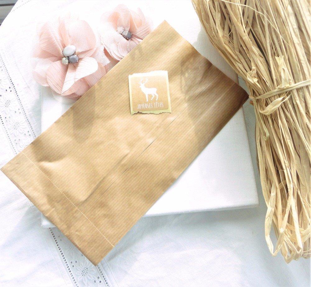 pochette papier kraft, emballage cadeau, étiquette cadeau, noel, sac, papeterie