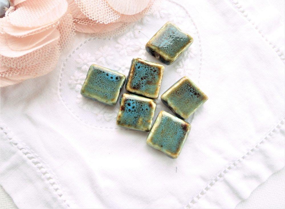 perle carré porcelaine, perle céramique, céramique grec, carré, bleu,