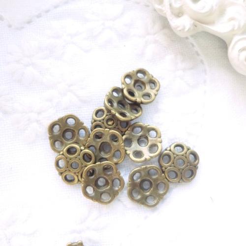 Calotte perle, coupelle perle, apprêts bijoux, métal bronze,