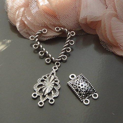 Connecteur boucle oreille, estampe argenté, apprêts bijoux, lot, connecteur, déstockage,