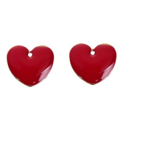 Sequin cœur émail, breloque sequins, perle, cœur, émail, rouge,