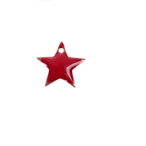 Sequin émail rouge, perle étoile, pendentif  émaillé, charm, étoile,