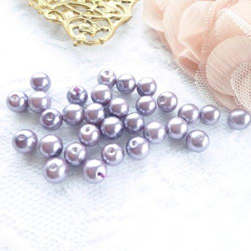 Perle verre nacré, perle ronde, 8 mm, mauve, violette, fantaisie