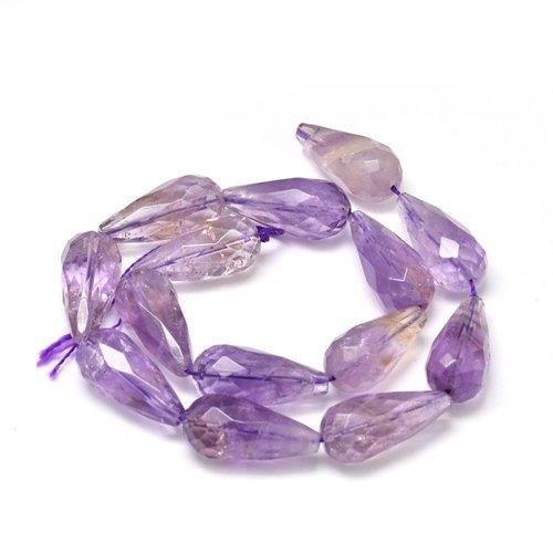 Pendentif goutte améthyste , pierre violette, perle goutte mauve, gemmes, naturels, bijoux, création