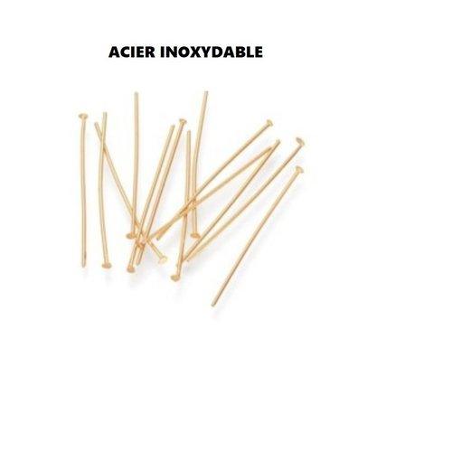 Clou acier doré, tige acier inoxydable, tige 40 mm, apprêt ,  inox,